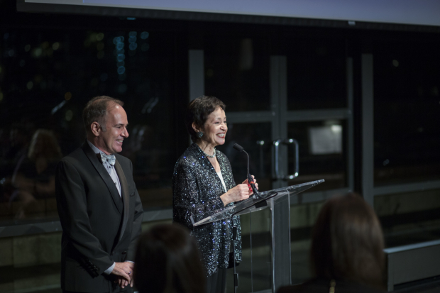 <p>Stephen Flaherty and Lynn Ahrens accept their award.</p><br />(© Peter Roessler)