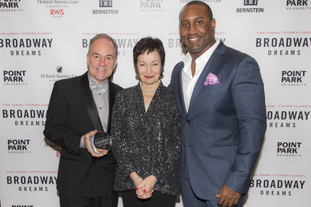 <p>Stephen Flaherty and Lynn Ahrens take a photo with Quentin Earl Darrington, who starred in the Broadway revival of <em>Ragtime</em>.</p><br />(© Peter Roessler)