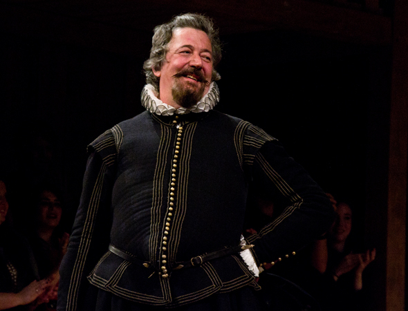 <p>Stephen Fry drinks in the curtain call for his Broadway debut.</p><br />(© David Gordon)