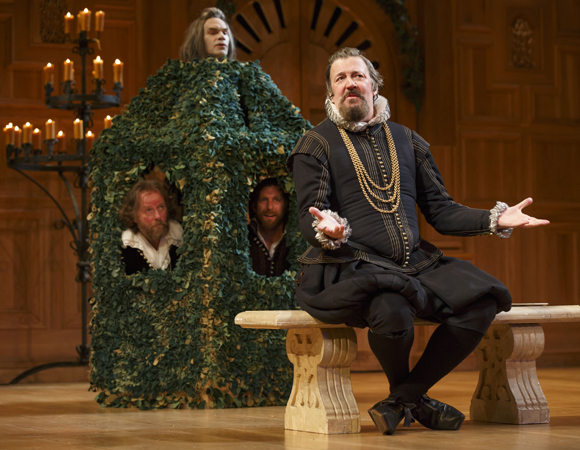 <p>Stephen Fry&#39&#x3B;s Malvolio is gulled by Angus Wright, Jethro Skinner, and Colin Hurley.</p><br />(© Joan Marcus)