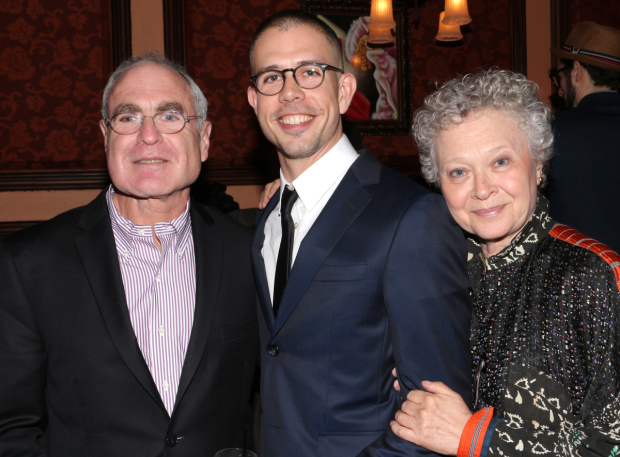 <p>Stephen Karam and Lauren Klein join Roundabout Tehater Company artistic director Todd Haimes at the party.</p><br />(© David Gordon)