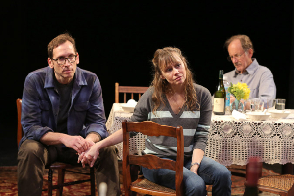 <p>Stephen Kunken and Sally Murphy share a scene with Jon DeVries in <em>Regular Singing</em>.</p><br />(@ Joan Marcus)