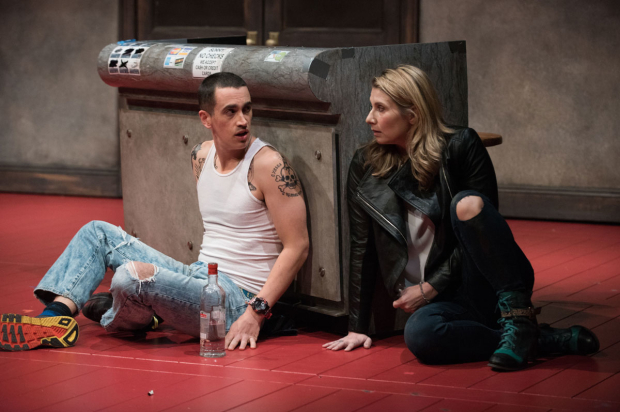 <p>Stephen Stocking and Nadia Bowers share a scene.</p><br />(© Ahron R. Foster)