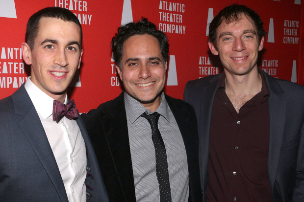 <p>Stephen Stocking, Rajiv Joseph, and Max Gordon Moore stop on the red carpet.</p><br />(© David Gordon)