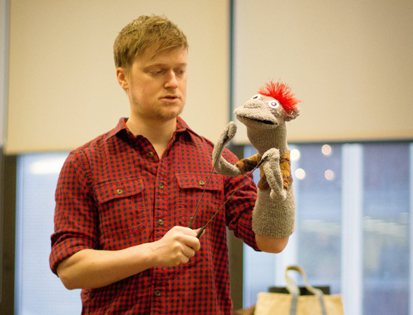 <p>Steven Boyer has some quality time with Tyrone.</p><br />(photo courtesy of MCC Theater)