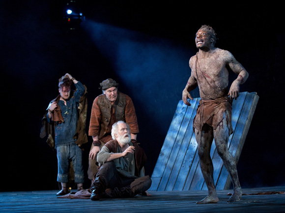<p>Steven Boyer, Jay O. Sanders, John Lithgow, and Chukwudi Iwuji in a scene from <em>King Lear</em>.</p><br />(© Joan Marcus)