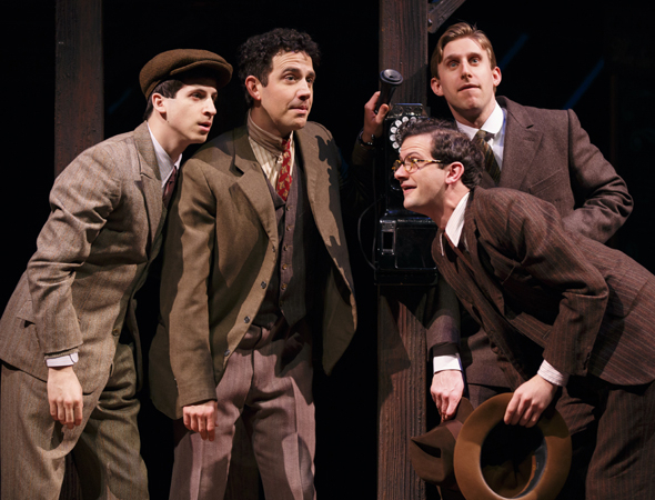 <p>Steven Kaplan, Santino Fontana, Will Brill, and Bill Army wait by the phone.</p><br />(© Joan Marcus)