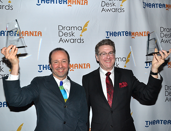 <p>Steven Lutvak and Robert L. Freedman, winners of the Outstanding Lyrics award for their musical <em>A Gentleman&#39&#x3B;s Guide to Love and Murder</em>.</p><br />(© David Gordon)