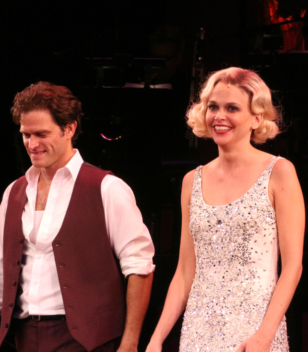 <p>Steven Pasquale and Sutton Foster take their opening-night curtain call.</p><br />(© David Gordon)