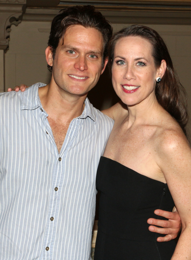 <p>Steven Pasquale snuggles up to costar Miriam Shor.</p><br />(© David Gordon)