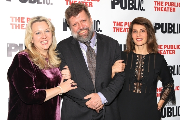 <p>Strayed and Vardalos pose with Oskar Eustis, artistic director of the Public Theater.</p><br />(© Tricia Baron)