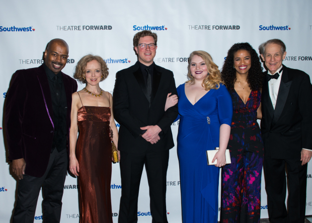 <p><em>Sunset Boulevard</em> company members Lance Roberts, Nancy Anderson, Preston Truman Boyd, Katie Ladner, Britney Coleman, and Jim Walton presented Glenn Close with the Theatre Artist Award.</p><br />(© Allison Stock)