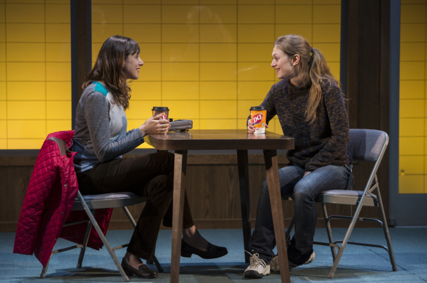 <p>Supporting cast member Natalie Gold (left) chats with Ireland on the Claire Tow stage.</p><br />(© Jeremy Daniel)