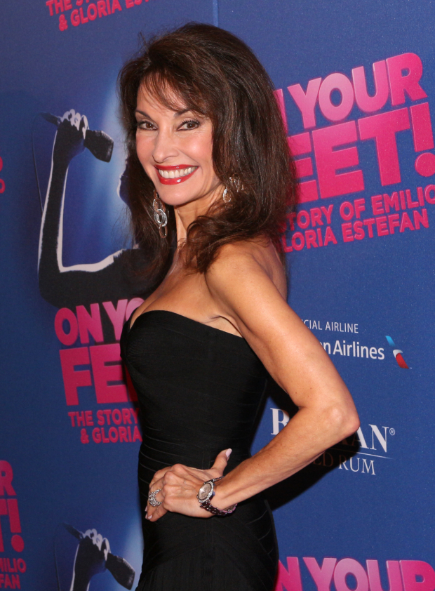 <p>Susan Lucci is thrilled to be at the opening of <em>On Your Feet!</em></p><br />(© David Gordon)