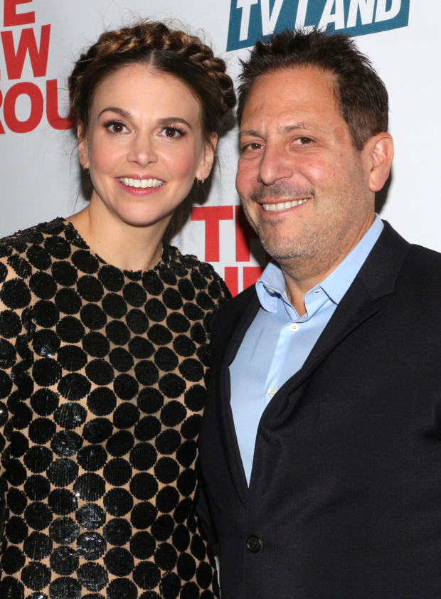 <p>Sutton Foster poses with her <em>Younger</em> creator Darren Starr.</p><br />(© David Gordon)