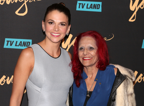 <p>Sutton Foster shares a photo with legendary costume designer Patricia Field.</p><br />(© David Gordon)
