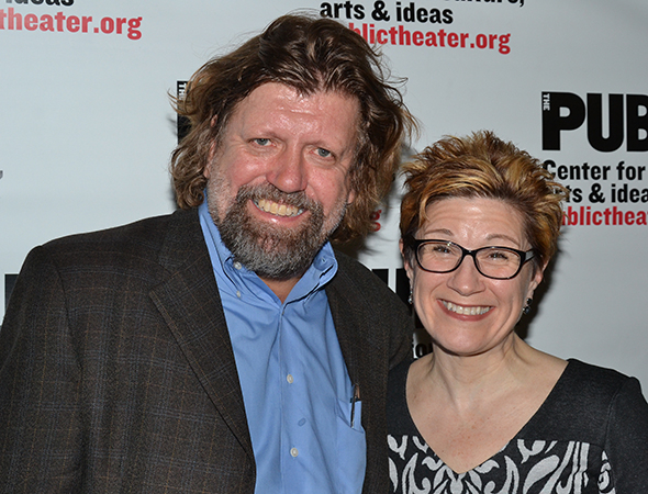 <p><em>Szechwan</em> cast member Lisa Kron smiles alongside Public Theater Artistic Director Oskar Eustis.</p><br />(© David Gordon)