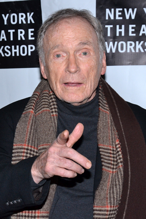 <p>Talk-show host Dick Cavett poses for photos on his way into New York Theatre Workshop.</p><br />(© David Gordon)