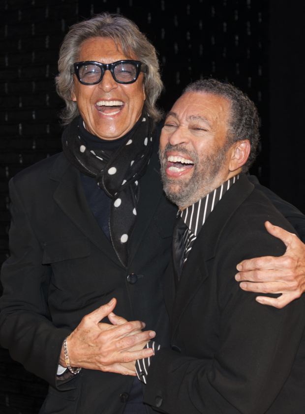 <p><em>Tappin&#39&#x3B; Thru Life</em> leading man Maurice Hines shares a laugh with opening-night guest Tommy Tune.</p><br />(© Allison Stock)