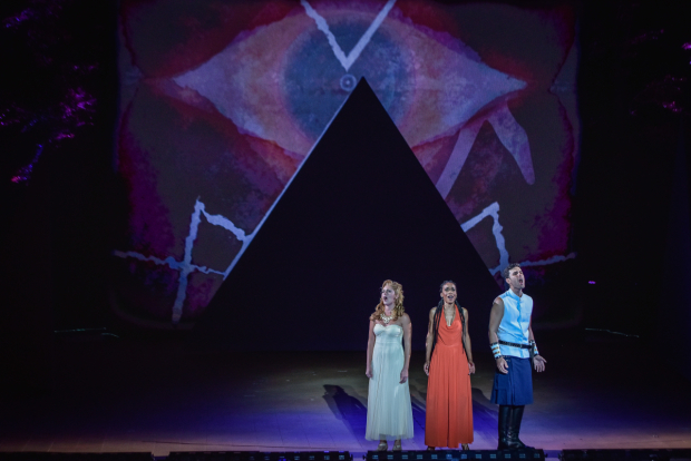 <p>Taylor Louderman, Michelle Williams, and Zak Resnick take the stage together.</p><br />(courtesy of The Muny)