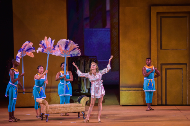 <p>Taylor Louderman steps out front as Amneris.</p><br />(courtesy of The Muny)