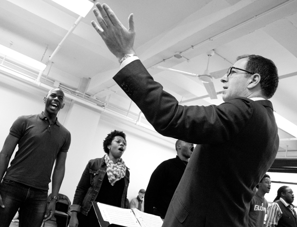 <p>Ted Sperling conducts the opening number, &quot&#x3B;Cotton Blossom.&quot&#x3B;</p><br />(© David Gordon)