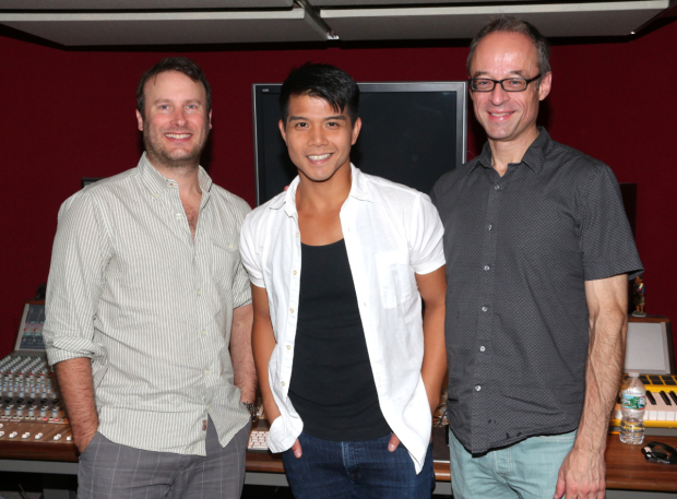 <p>Telly Leung (center) poses with record producer Michael Croiter (left) and musical arranger Gary Adler (right).</p><br />(© David Gordon)