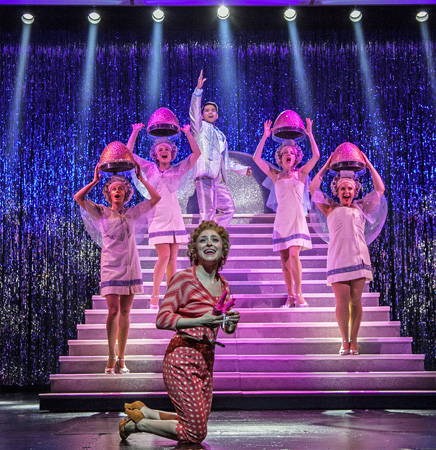 <p>Telly Leung joins the ladies of Paper Mill&#39&#x3B;s <em>Grease</em> onstage.</p><br />(© Jerry Dalia)