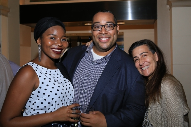 <p>Tesori takes a photo with ensemble members Marla Loussaint and Eddie Cooper.</p><br />(© Tricia Baron)