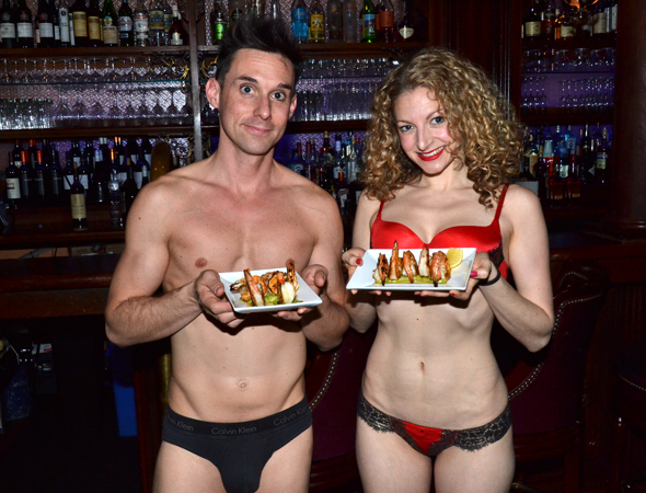 <p>That&#39&#x3B;s better. Catch The Skivvies at 54 Below and eat shrimp. Or eat shrimp at 54 Below in your skivvies with The Skivvies. Whichever you prefer.</p><br />(© David Gordon)