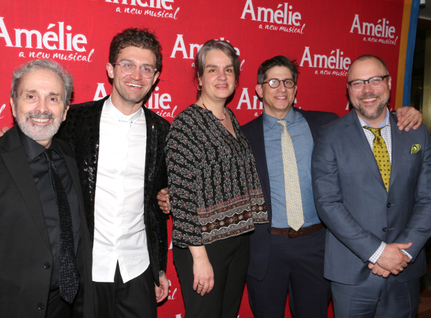 <p>The <em>Amélie</em> creative team: book writer Craig Lucas, choreographer Sam Pinkleton, director Pam MacKinnon, and songwriters Daniel Messé and Nathan Tysen.</p><br />(© David Gordon)