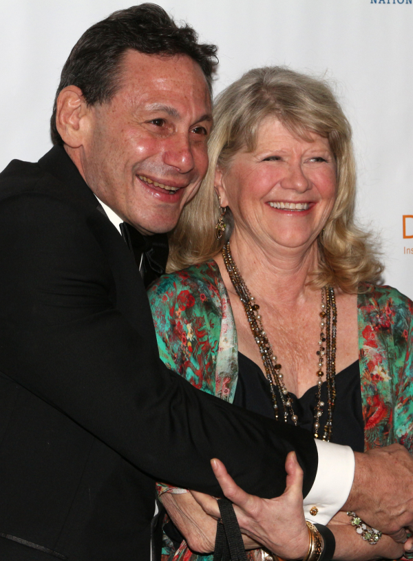 <p><em>The Audience</em> star Judith Ivey (right) gets a hug from Long Wharf Theatre Artistic Director Gordon Edelstein, before presenting him with the 50 Years of Achievement in Theatre Award.</p><br />(© David Gordon)
