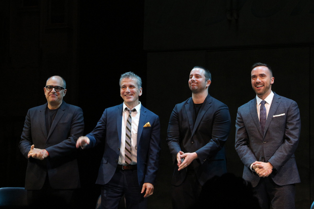 <p><em>The Band&#39&#x3B;s Visit</em> creators David Yazbek, David Cromer, Itamar Moses, and Patrick McCollum come out for a bow.</p><br />(© David Gordon)