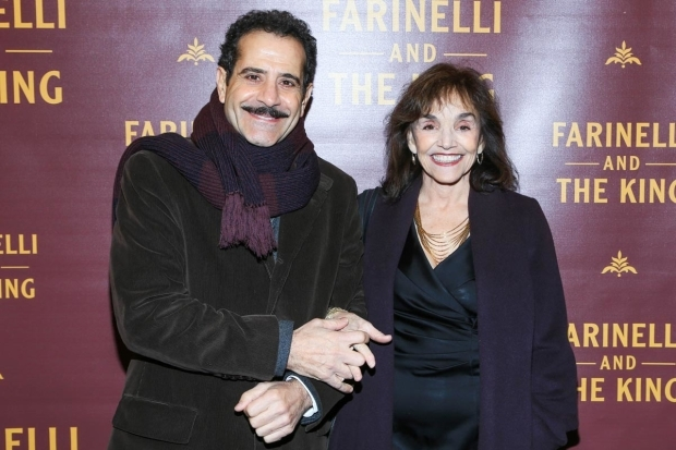 <p><em>The Band&#39&#x3B;s Visit</em> star Tony Shalhoub walked arm in arm with wife Brooke Adams.</p><br />(© Tricia Baron)