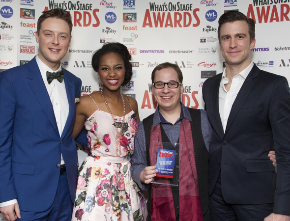 <p><em>The Book of Mormon</em> stars Stephen Ashfield, Alexia Khadime, Jared Gertner, and Gavin Creel show off their loot.</p><br />(© Dan Wooller)