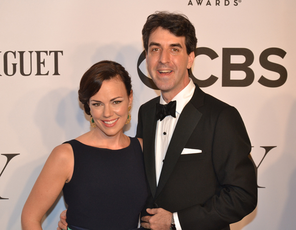 <p><em>The Bridges of Madison County</em> composer Jason Robert Brown, who won two awards this year for Best Score and Orchestrations, is accompanied by wife, Georgia Stitt.</p><br />(© David Gordon)