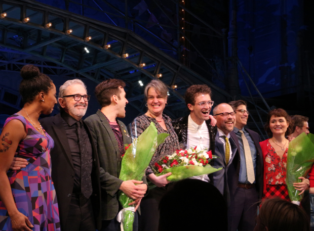 <p>The cast and creative team of <em>Amélie</em> take a bow at the Walter Kerr Theatre.</p><br />(© David Gordon)