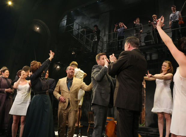 <p>The cast and creative team signs &quot&#x3B;I love you&quot&#x3B; all around the theater.</p><br />(© David Gordon)