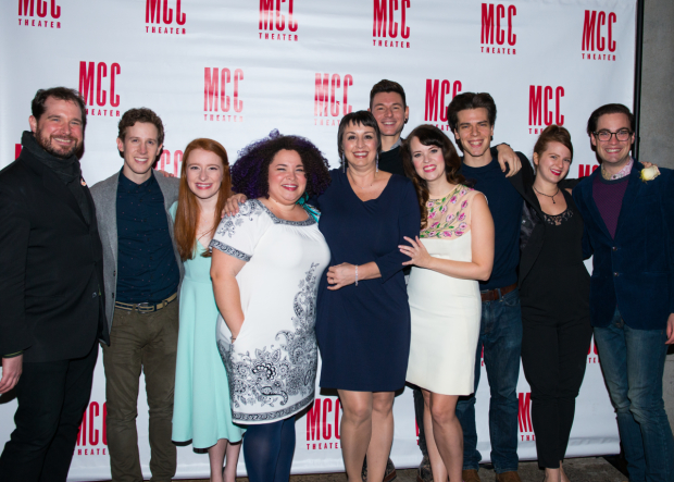 <p>The cast embraces their director, Rachel Rockwell.</p><br />(© Allison Stock)