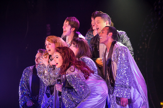 <p>The cast members of <em>50 Shades! The Musical</em> embrace in the final number.</p><br />(© Seth Walters)
