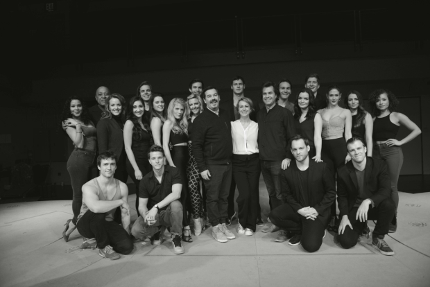<p>The cast of <em>American Psycho</em>, with songwriter Duncan Sheik, choreographer Lynne Pag, and director Rupert Goold.</p><br />(© Allison Stock)