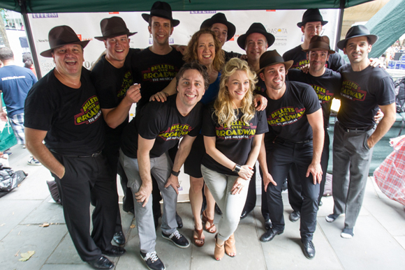 <p>The cast of <em>Bullets Over Broadway</em> enjoys the NYC summer at Broadway in Bryant Park.</p><br />(© Steve Prue for Clear Channel New York)