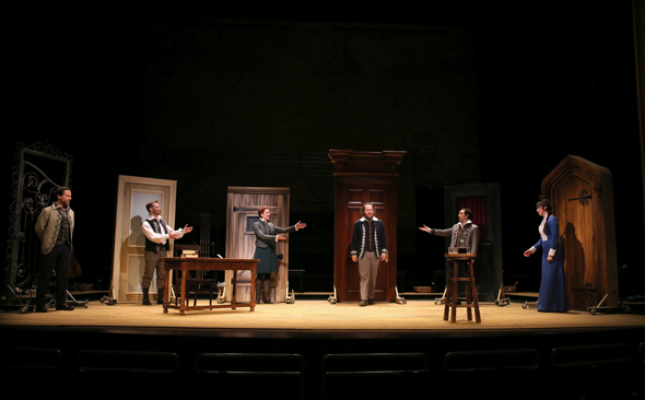 <p>The cast of Fiasco Theater&#39&#x3B;s <em>Measure for Measure</em> at the New Victory Theater.</p><br />(© Joan Marcus)