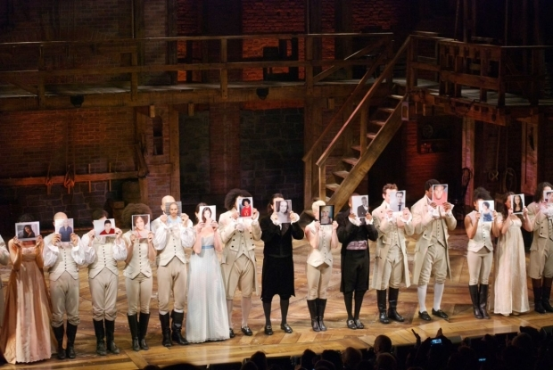 <p>The cast of <em>Hamilton</em> pays tribute to the original production of <em>A Chorus Line</em>, which opened at the Public&#39&#x3B;s Newman Theater on April 16, 1975.</p><br />(© Kristin Goehring)