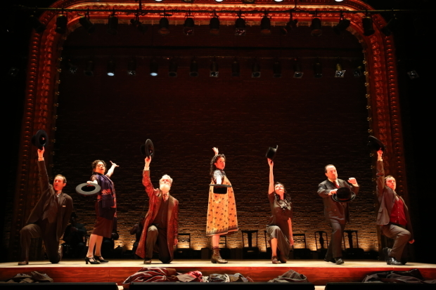 <p>The cast of <em>Indecent</em>: Richard Topol, Mimi Lieber, Tom Nelis, Adina Verson, Katrina Lenk, Steven Rattazzi, and Max Gordon Moore.</p><br />(© Carol Rosegg)