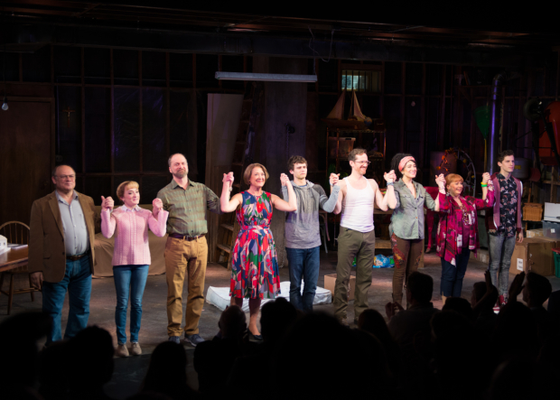 <p>The cast of <em>Kid Victory</em> takes a bow.</p><br />(© Allison Stock)