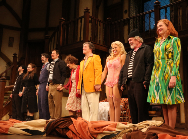 <p>The cast of <em>Noises Off</em> celebrate their opening-night curtain call.</p><br />(© David Gordon)