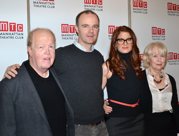 <p>The cast of <em>Outside Mullingar</em> — John Aylward, Brían F. O'Byrne, Debra Messing, and Dearbhla Molloy.</p><br />(© David Gordon)