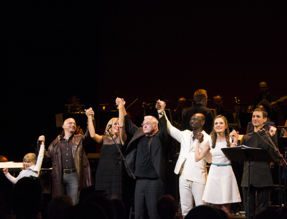 <p>The cast of Randy Newman&#39&#x3B;s <em>Faust: The Concert</em> at curtain call: Brooklyn Shuck (Angel Child), Michael Cerveris (Angel Rick), Vonda Shepard (Martha), Randy Newman (The Devil), Isaiah Johnson (Lord), Laura Osnes (Margaret), and Tony Vincent (Henry Faust).</p><br />(© David Gordon)