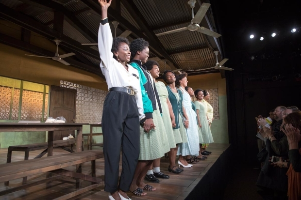 <p>The cast of <em>School Girls&#x3B; or, The African Mean Girls Play</em> takes a bow at curtain call.</p><br />(© Simon Luethi)